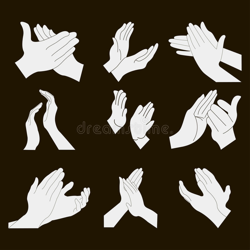 Applause set clapping hands. Icon set - vector stock illustration