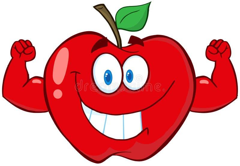 Apple动画片与肌肉胳膊的吉祥人字符 库存例证