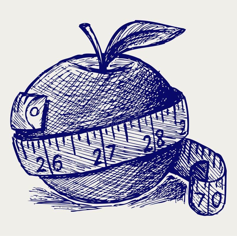 Apple和评定磁带 向量例证