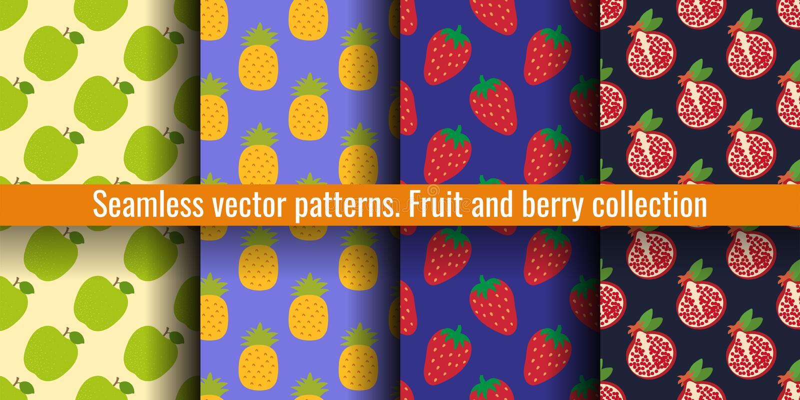 Apple, ανανάς, φράουλα και γρανάτης Άνευ ραφής σύνολο σχεδίων φρούτων Τυπωμένη ύλη τροφίμων για τα ενδύματα ή linens Σχέδιο μόδας ελεύθερη απεικόνιση δικαιώματος