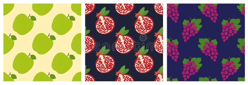 Apple, γρανάτης και σταφύλια Άνευ ραφής σύνολο σχεδίων φρούτων Σχέδιο μόδας Τυπωμένη ύλη τροφίμων για τα ενδύματα, linens ή την κ διανυσματική απεικόνιση