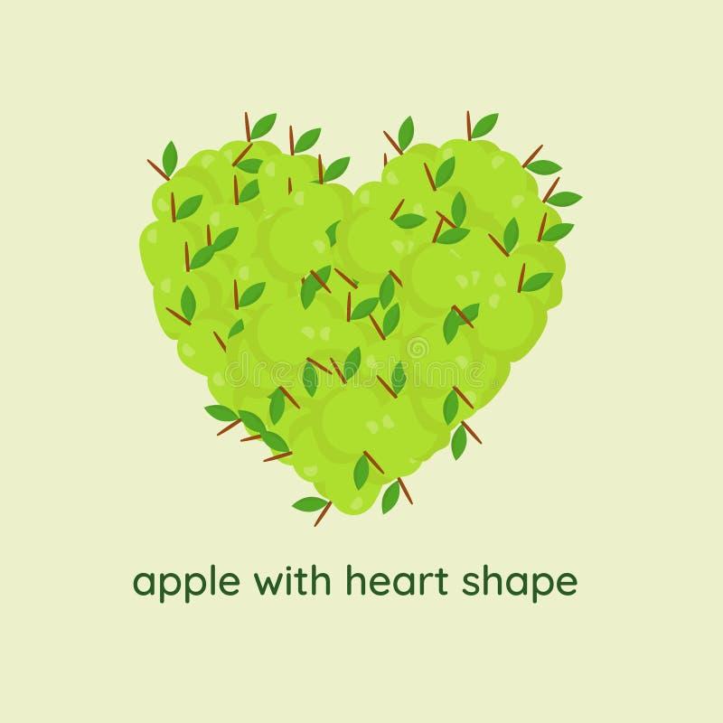 Apple με τη μορφή καρδιών διανυσματική απεικόνιση