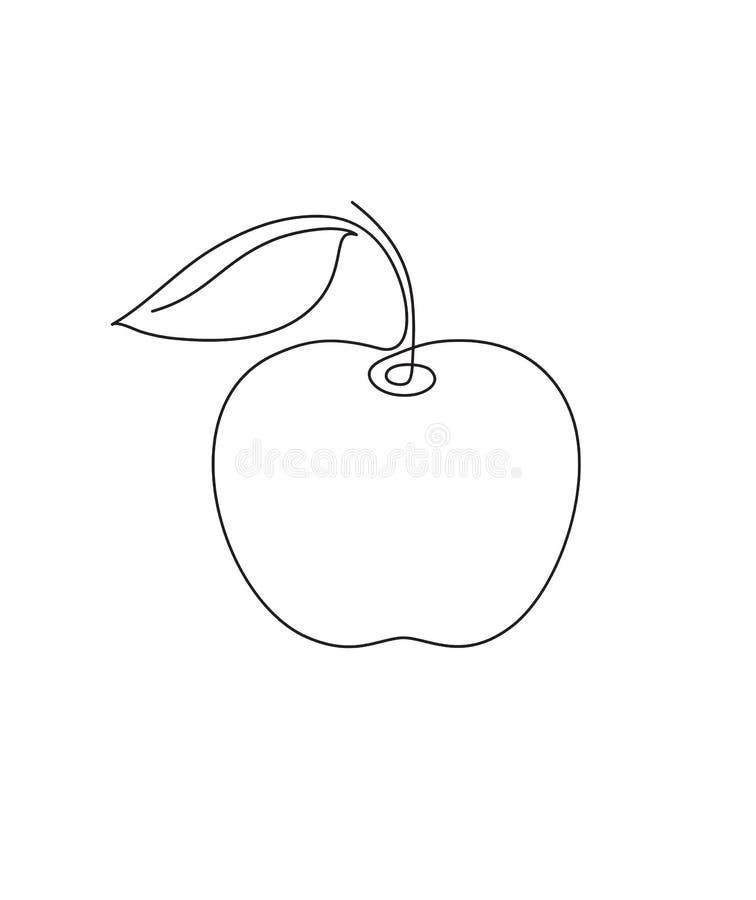 Apple μια γραμμή διανυσματική απεικόνιση