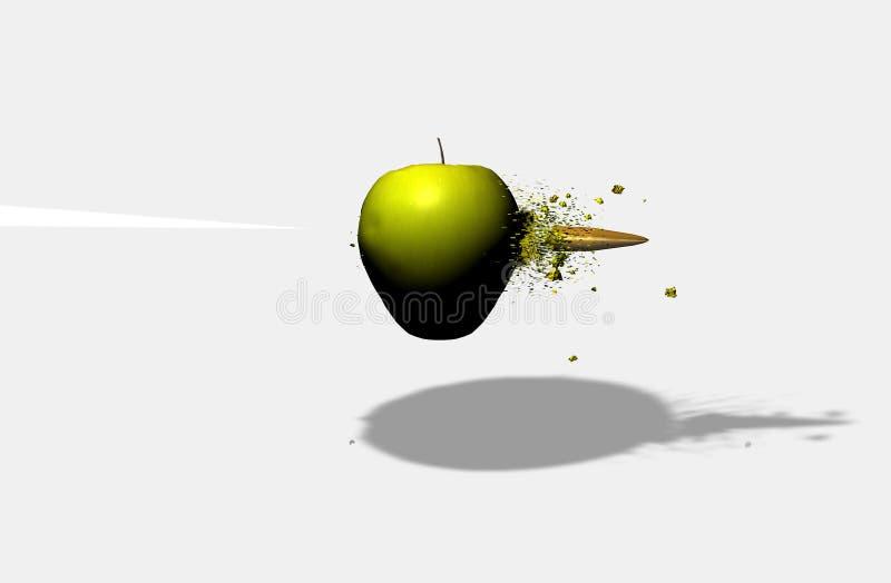 Apple που χτυπιέται από τη σφαίρα απεικόνιση αποθεμάτων