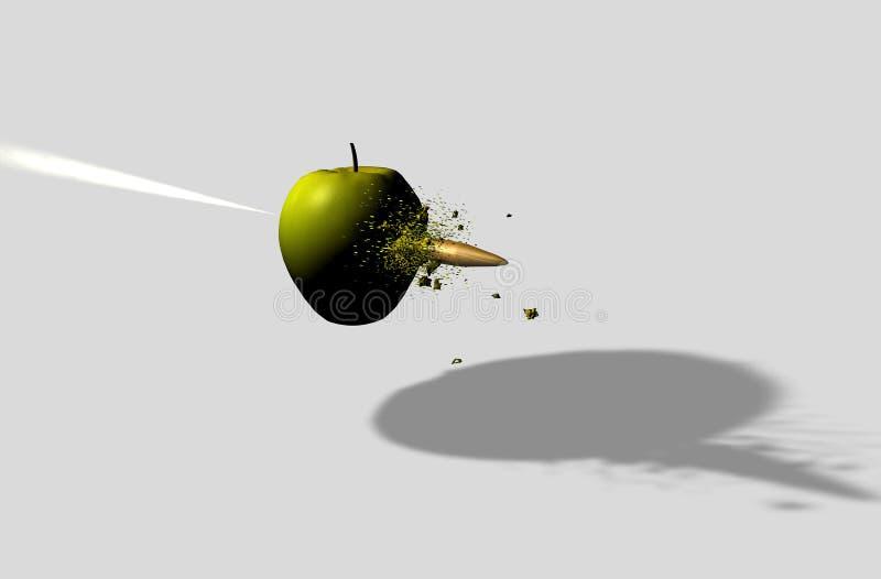 Apple που χτυπιέται από τη σφαίρα διανυσματική απεικόνιση
