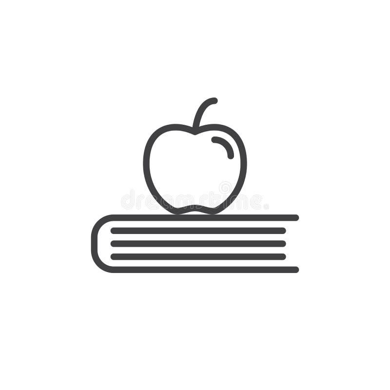 Apple στο εικονίδιο γραμμών βιβλίων, διανυσματικό σημάδι περιλήψεων, γραμμικό εικονόγραμμα ύφους που απομονώνεται στο λευκό ελεύθερη απεικόνιση δικαιώματος
