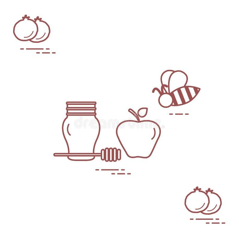 Apple στο μέλι σε Rosh Hashanah, ρόδι, μέλισσα Παραδοσιακά εβραϊκά τρόφιμα και σύμβολα Σχέδιο για την κάρτα, έμβλημα, αφίσα ή διανυσματική απεικόνιση