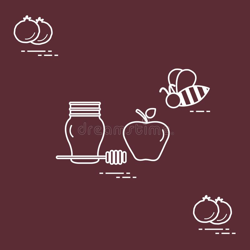 Apple στο μέλι σε Rosh Hashanah, ρόδι, μέλισσα Παραδοσιακά εβραϊκά τρόφιμα και σύμβολα διανυσματική απεικόνιση
