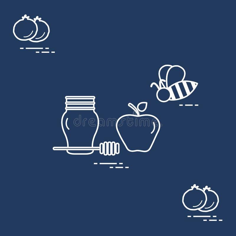 Apple στο μέλι σε Rosh Hashanah, ρόδι, μέλισσα Παραδοσιακά εβραϊκά τρόφιμα και σύμβολα ελεύθερη απεικόνιση δικαιώματος
