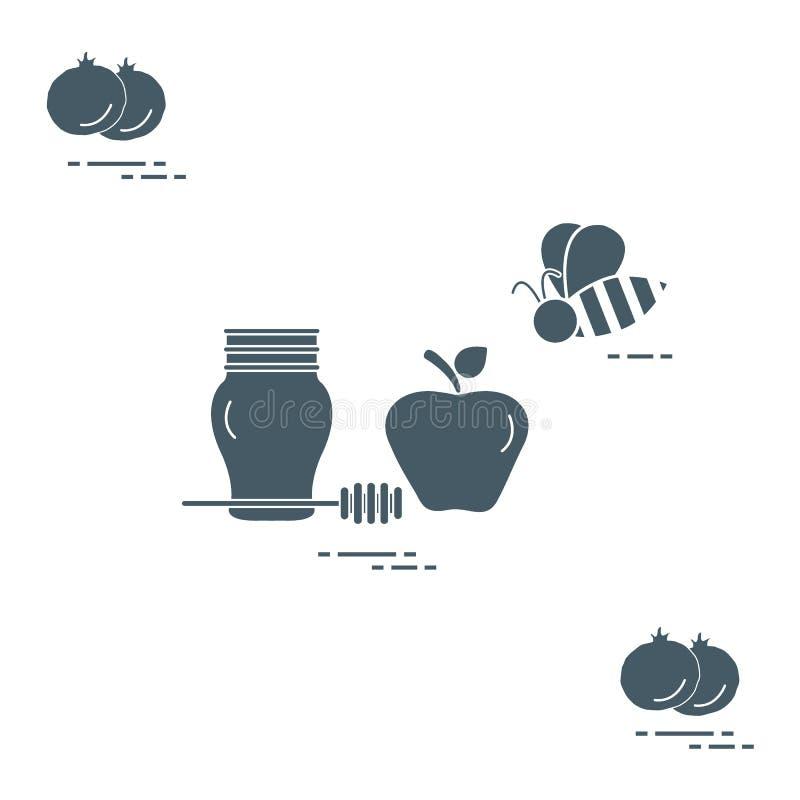 Apple στο μέλι σε Rosh Hashanah, ρόδι, μέλισσα Παραδοσιακά εβραϊκά τρόφιμα και σύμβολα απεικόνιση αποθεμάτων