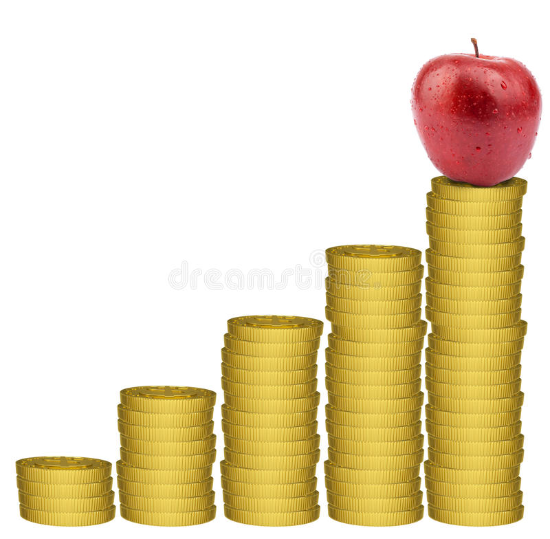 Apple στο χρυσό σωρό νομισμάτων ελεύθερη απεικόνιση δικαιώματος