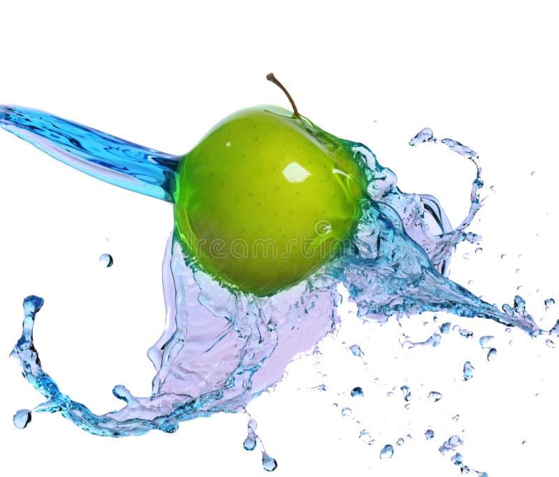 Apple в потоке воды стоковые фотографии rf