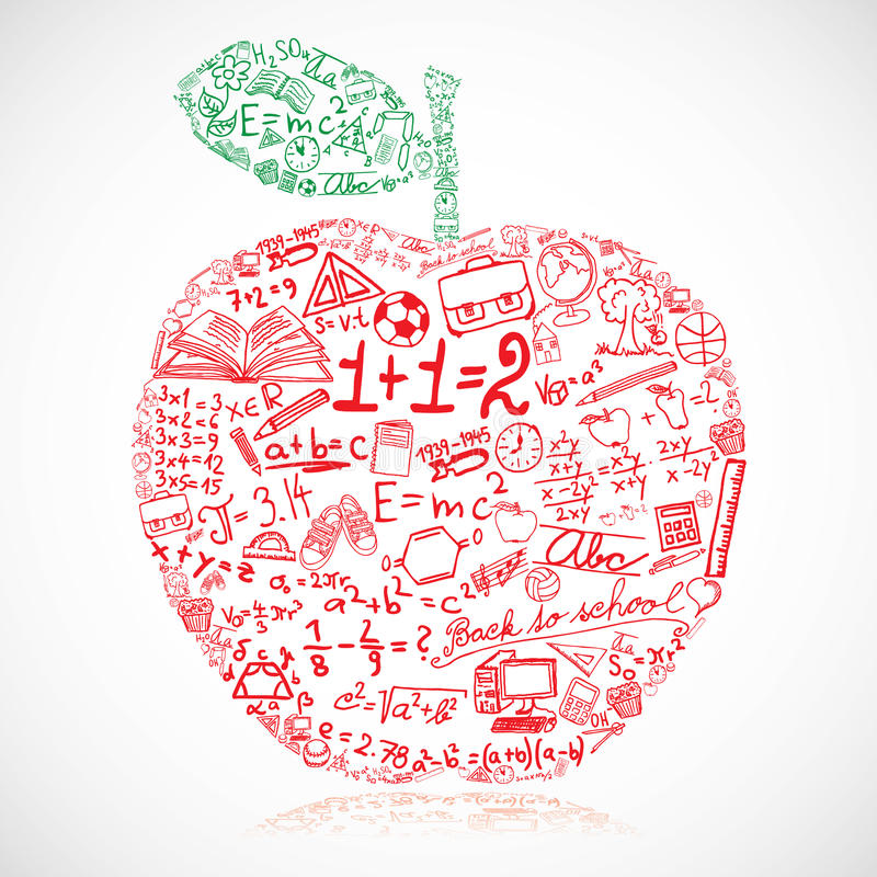 Apple. Made of school symbols vector illustration