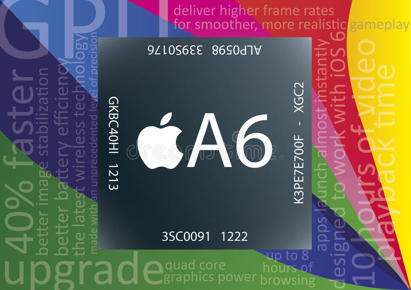 Apple A6 chip royalty free illustration