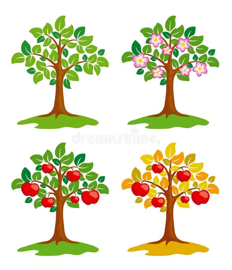 Apple-albero alle stagioni differenti illustrazione di stock