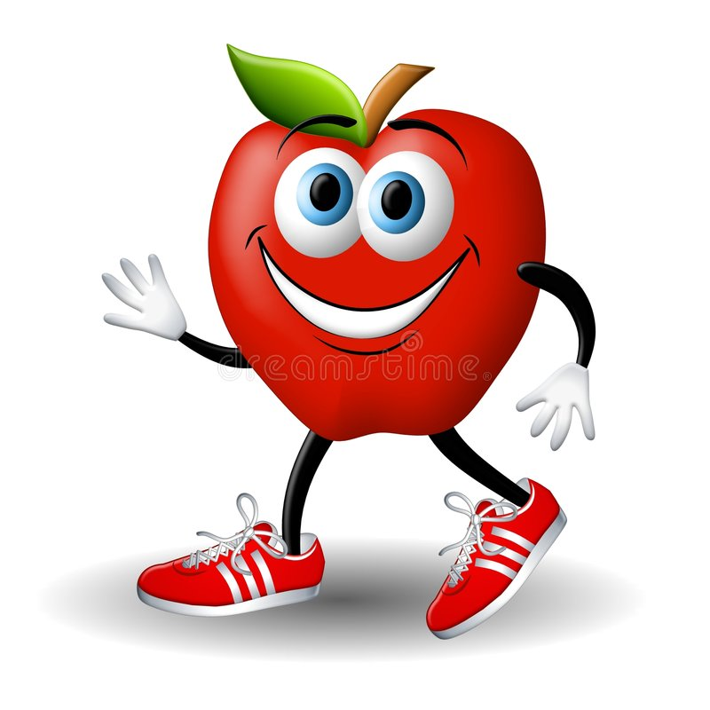 Download Apple Andy Running Healthy stock illustration. Image of cartooned - 4882556