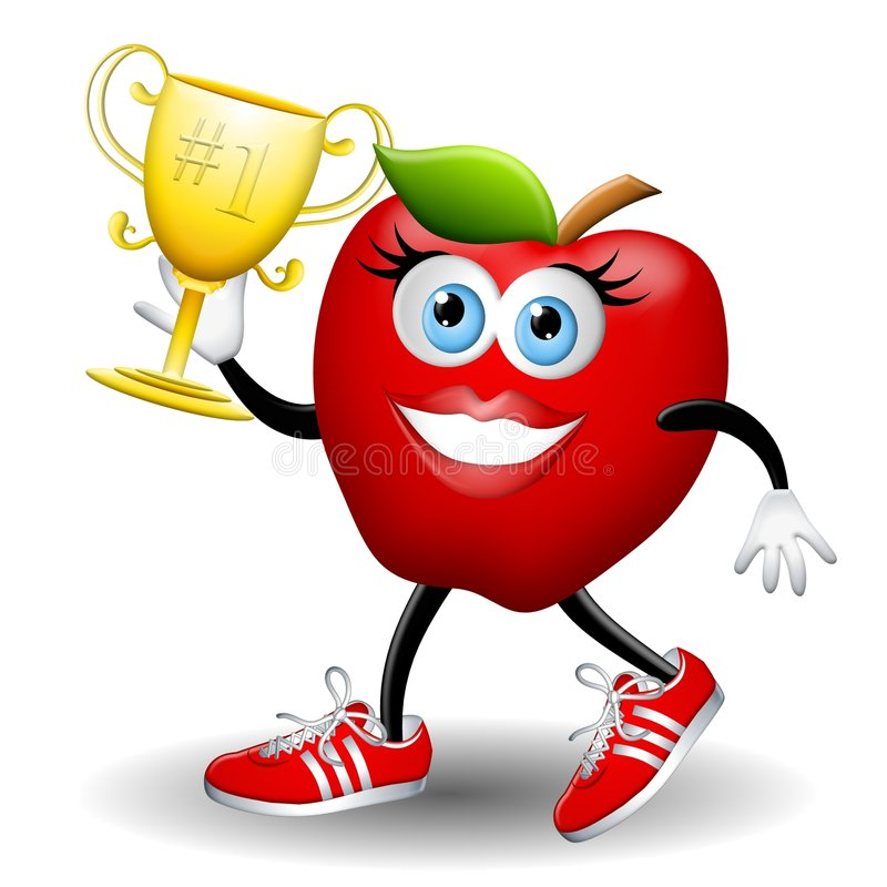 Apple Annie Wins The Race. An illustration featuring a female apple smiling and running in sneakers with a gold trophy in hand to symbolize health, fitness and stock illustration