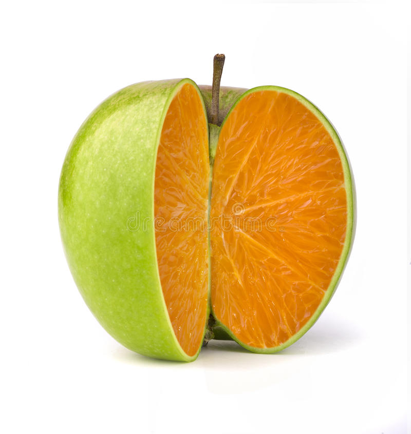 Apple apelsin royaltyfria foton