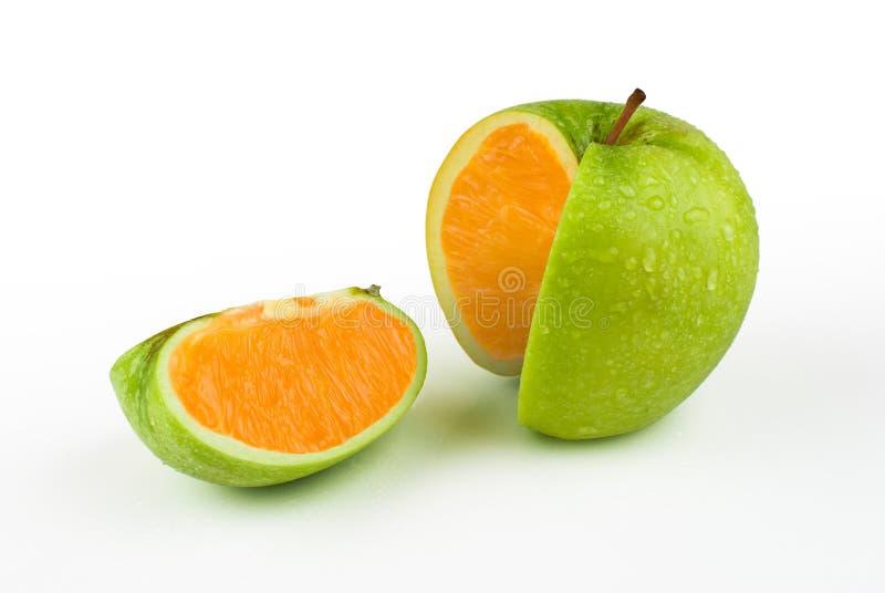 Apple apelsin fotografering för bildbyråer