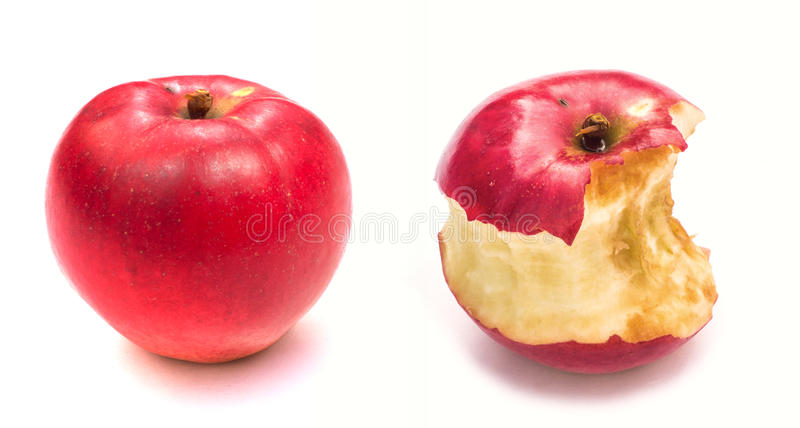 Apple and apple core. Isolated on white background.  close-up stock photo