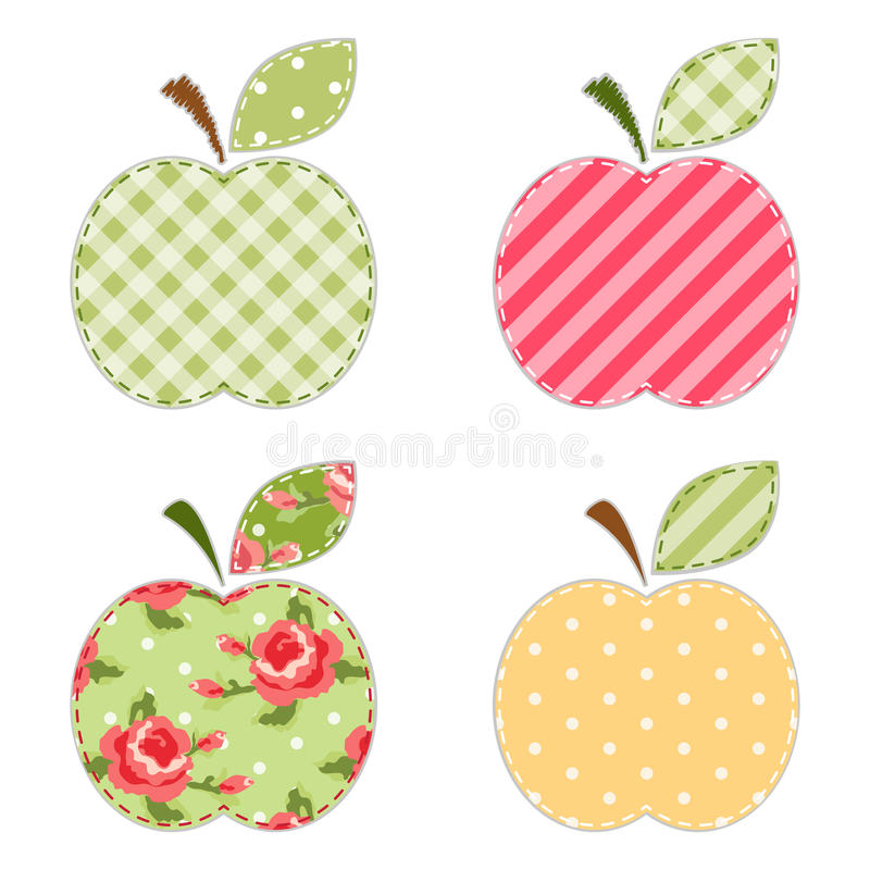 Apple applique. Vintage apple applique with roses, gingham, polka dot and striped fabrics vector illustration
