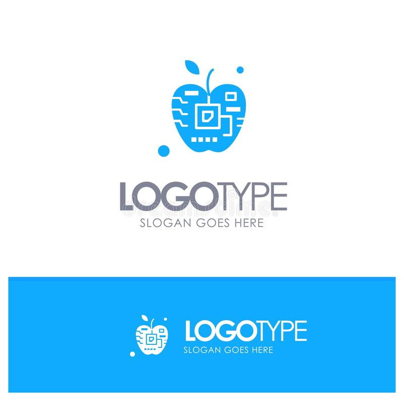 Apple, Artificial, Biology, Digital, Electronic Blue Solid Logo with place for tagline stock illustration