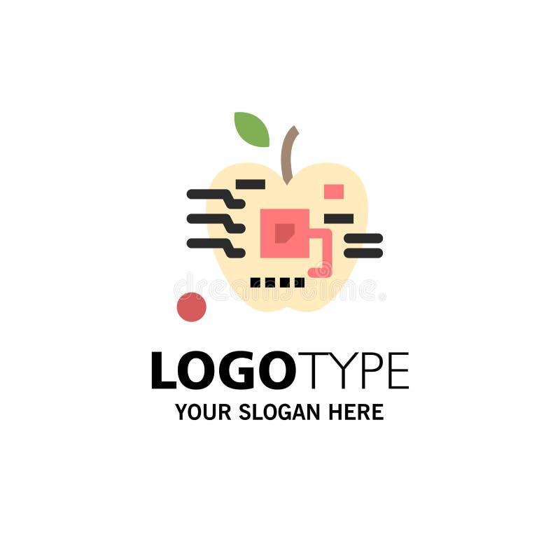 Apple, Artificial, Biology, Digital, Electronic Business Logo Template. Flat Color vector illustration