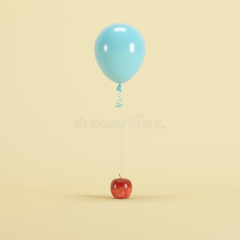 Apple ató con el globo azul en colores pastel en fondo amarillo claro imágenes de archivo libres de regalías