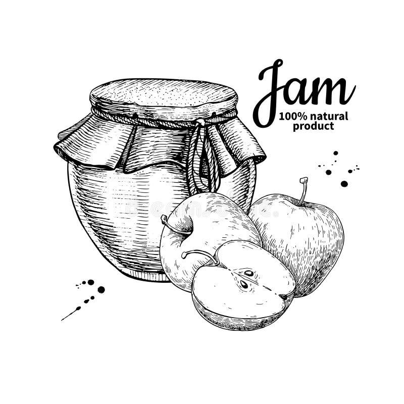 Apple atasca el dibujo de cristal del vector del tarro Jalea y mermelada de fruta ilustración del vector