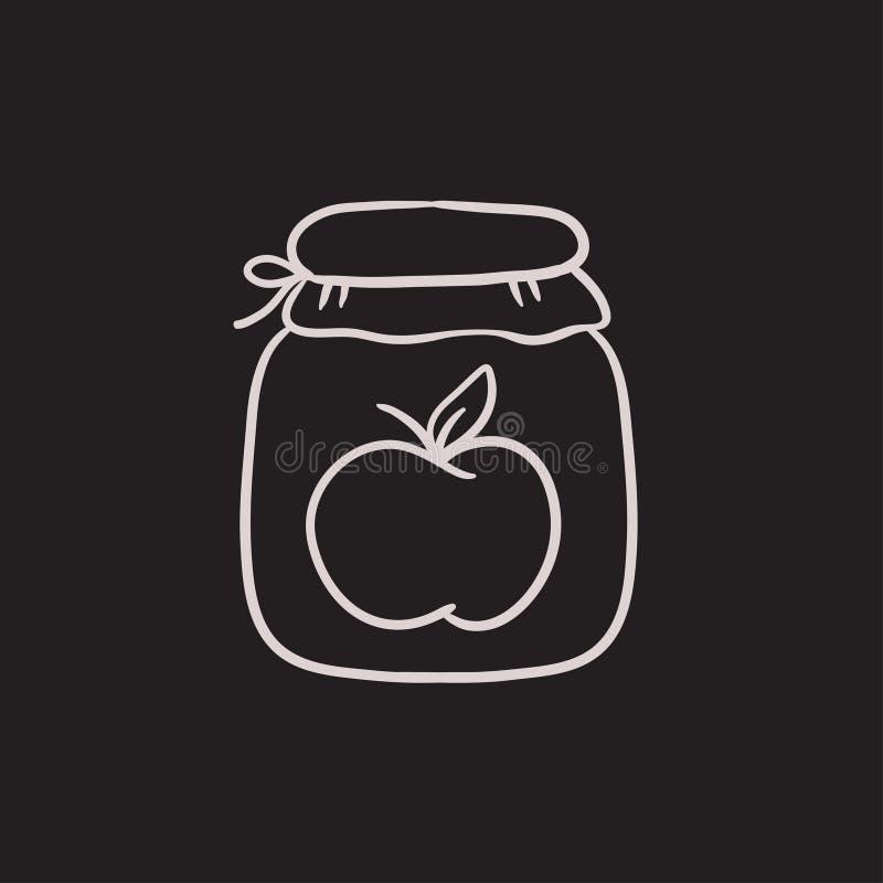 Apple atasca el icono del bosquejo del tarro stock de ilustración