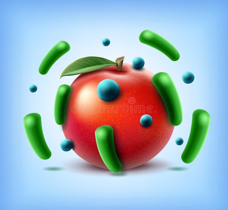 Apple avec des bactéries illustration libre de droits