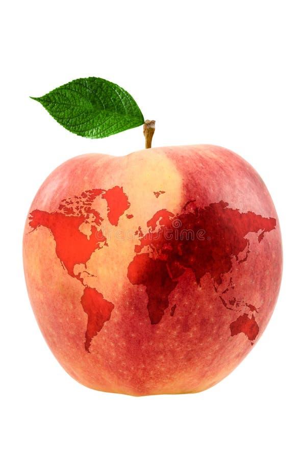 Apple avec la carte du monde images stock