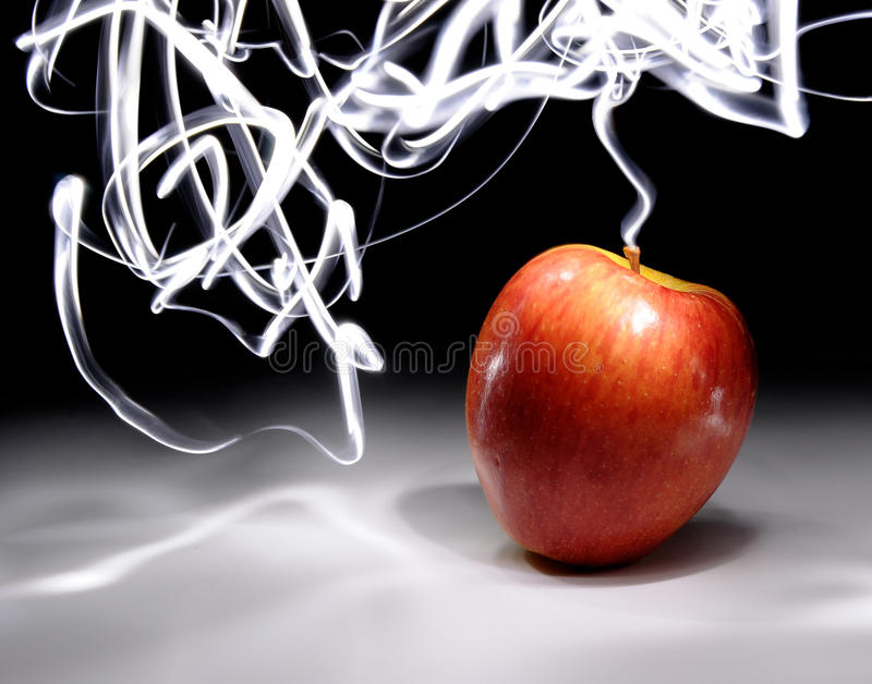 Apple avec la longue lumière d'exposition photo stock