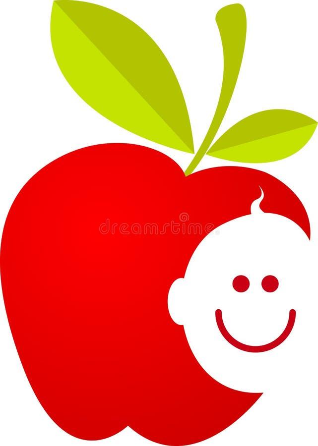 Apple avec le visage de sourire de chéri illustration stock