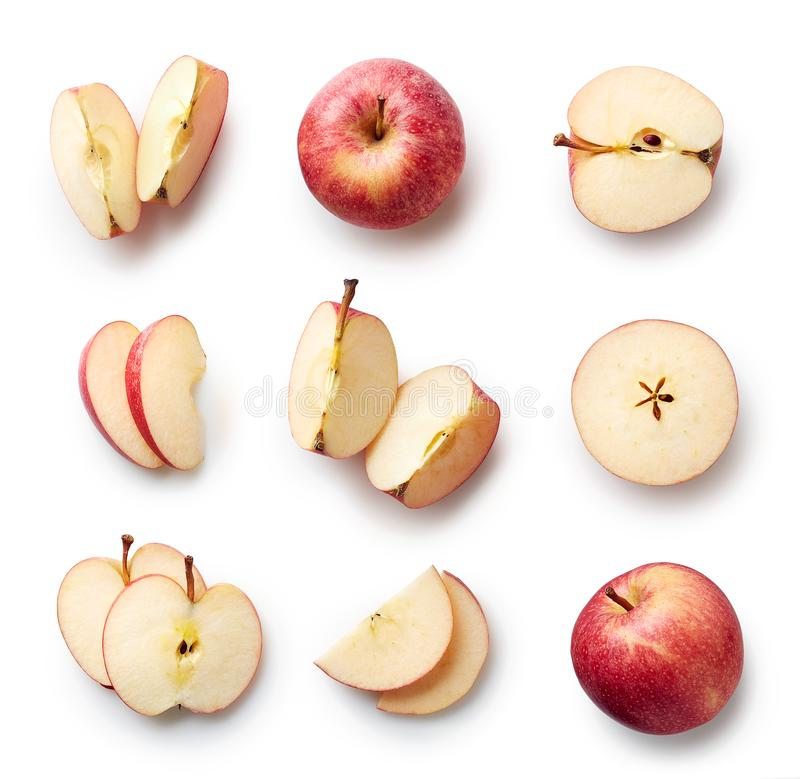 apple background delicious drops fresh has healthy isolated organic red shadow slight stem water white стоковое изображение