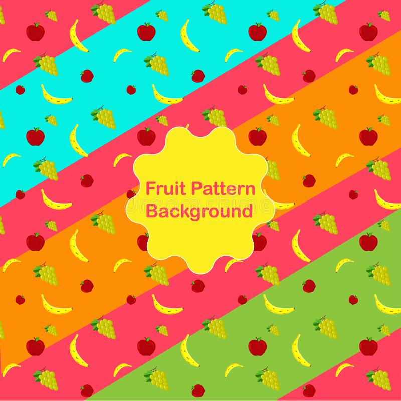 Apple_Banana_Grapes_multiple colors. Food Pattern Background. royalty free stock image