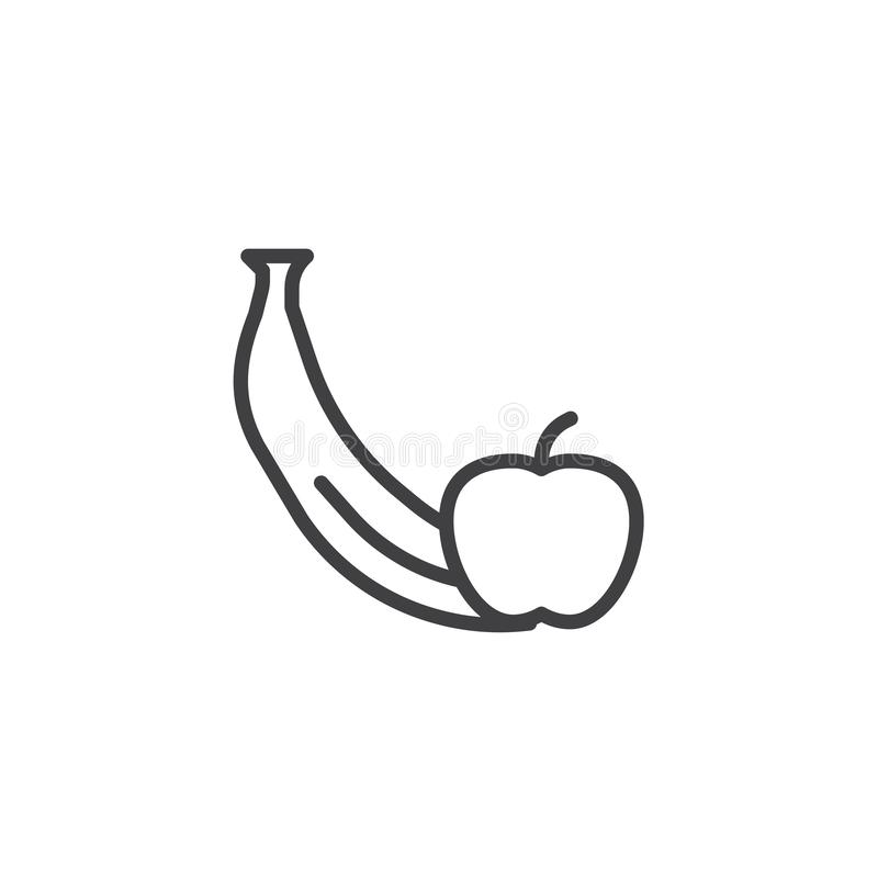 Apple with banana line icon vector illustration