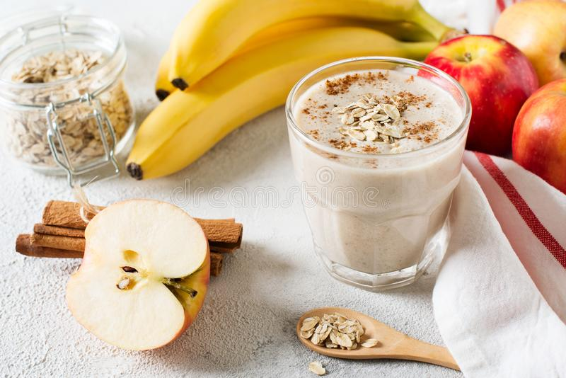 Apple and banana oatmeal smoothie raw helthy breakfast royalty free stock photos