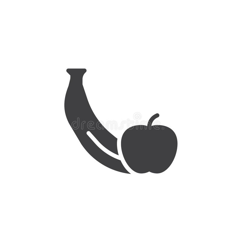Apple with banana vector icon stock illustration