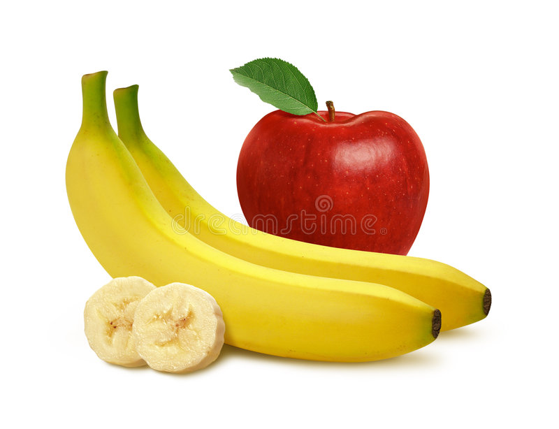 Apple & Bananas. Isolated on a white background with a clipping path. Isolation is on a transparent layer in the PNG format royalty free stock photo