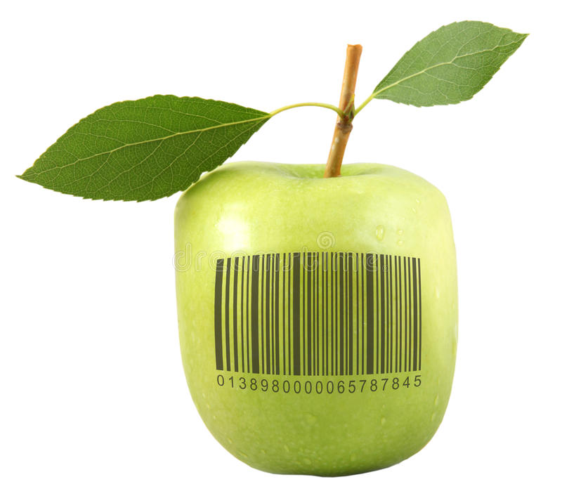 Apple with bar code stock photo