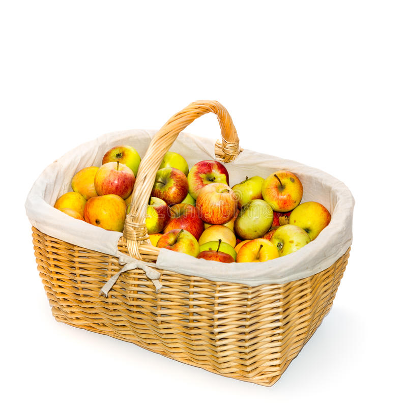 Apple basket. Basket of apples on white backgrouns stock photography