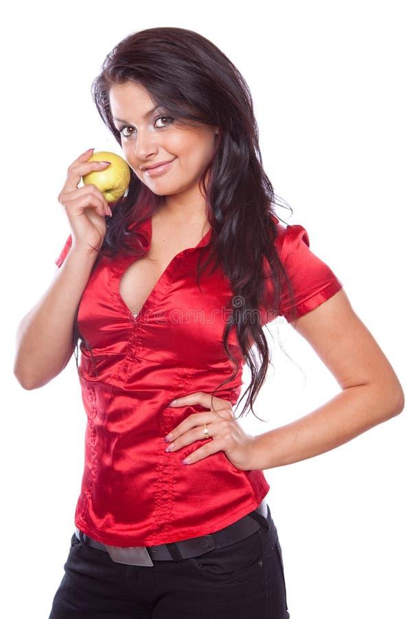 apple beauty girl royaltyfria foton