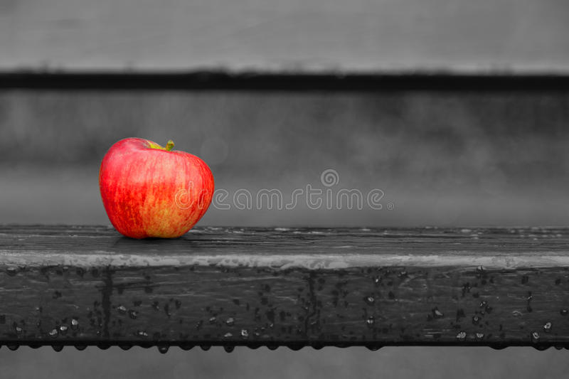 Apple on bench stock image
