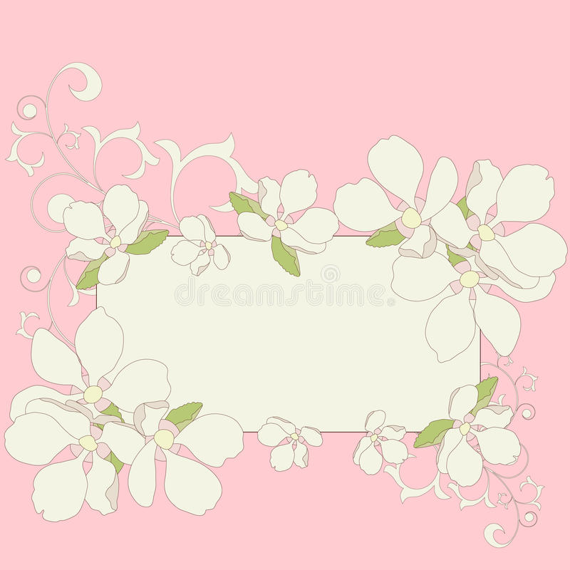 Apple blossom frame background. royalty free illustration