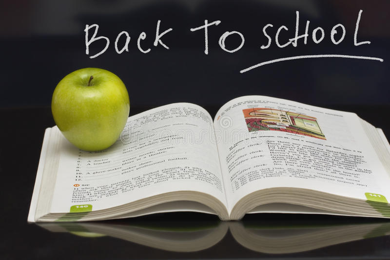 Download Apple On The  Book. Blackboard With Sign. Stock Image - Image of apple, class: 9914327