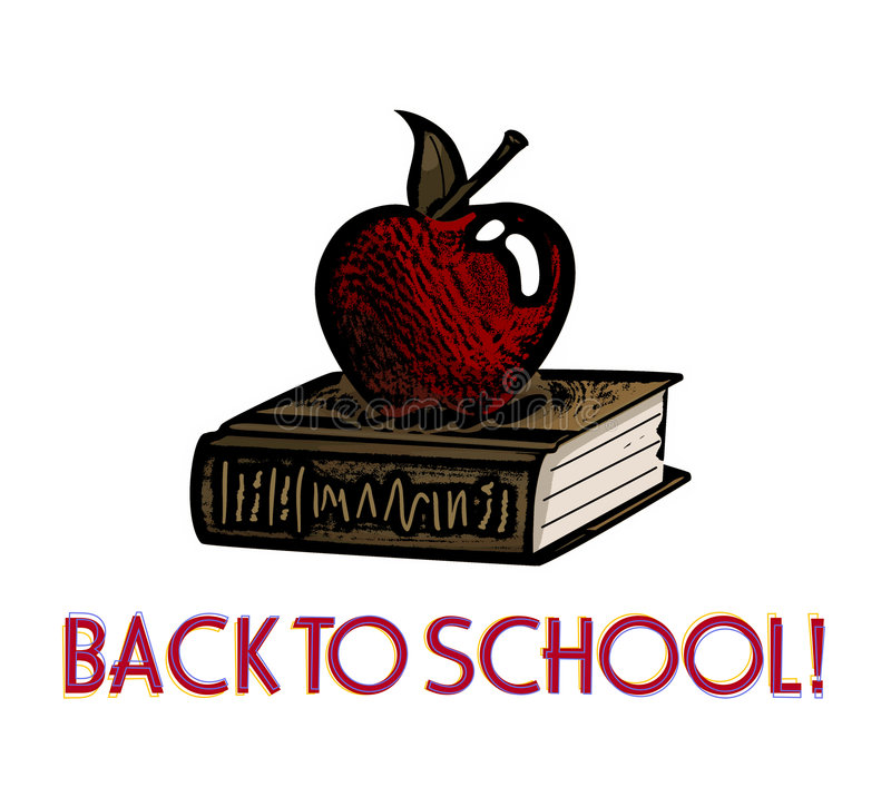 Download Apple And Book Woodcut -- Back To School Stock Illustration - Illustration: 1004199