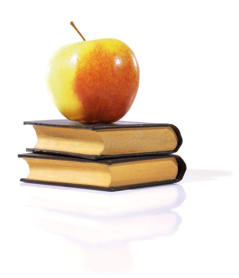 Apple on a books. stock images