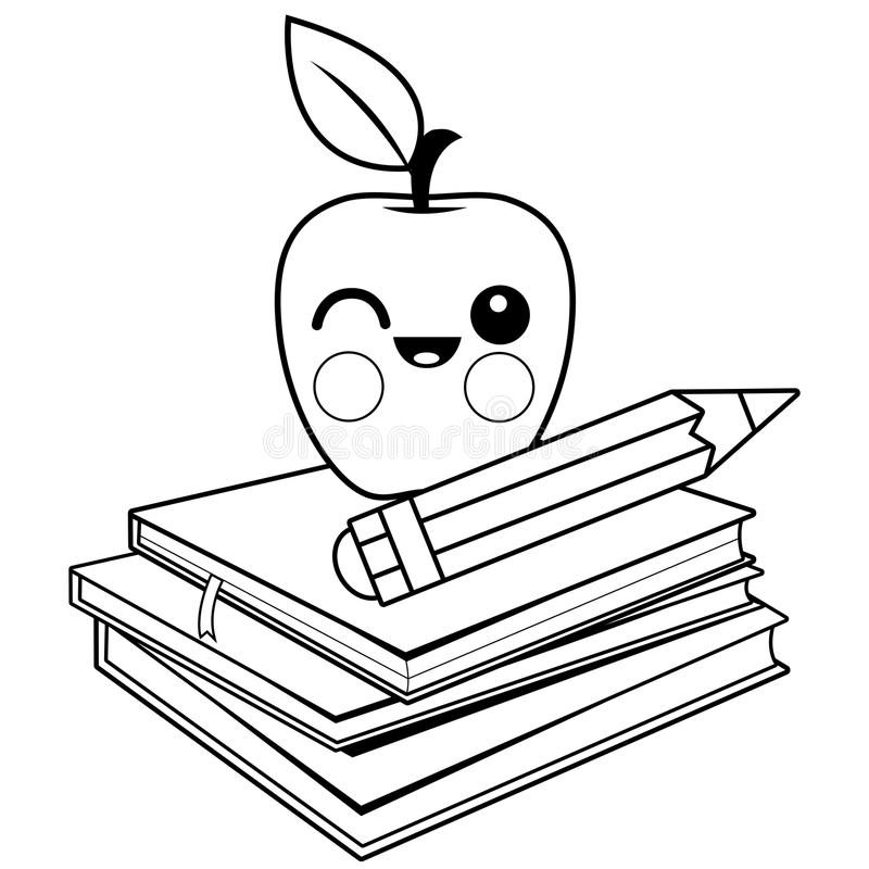 - Apple, Books And Pencil. Black And White Coloring Book Page. Stock Vector -  Illustration Of Fruit, Studying: 105368498