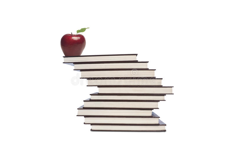 Download Apple and books on white stock image. Image of apple - 32304913